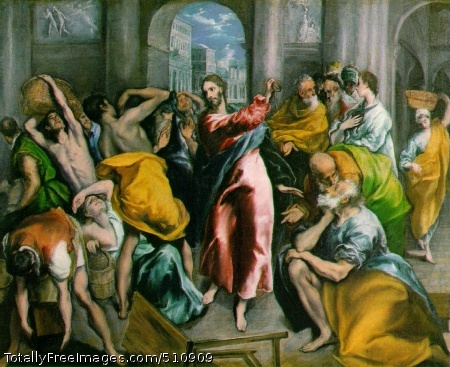 Christ Driving the Traders from the Temple 1600 (170 Kb); Oil on canvas, 106 x 130 cm (41 x 51 in)