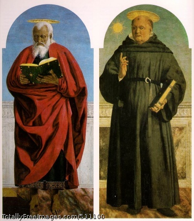 Polyptych of Saint Augustine 1454 (140 Kb); Oil and tempera on panelSaint John the Evangelist; 131.5 x 57.8 cm; Frick Collection, New YorkSaint Nicholas of Tolentino; 136 x 59 cm; Museo Poldi Pezzoli, Milan