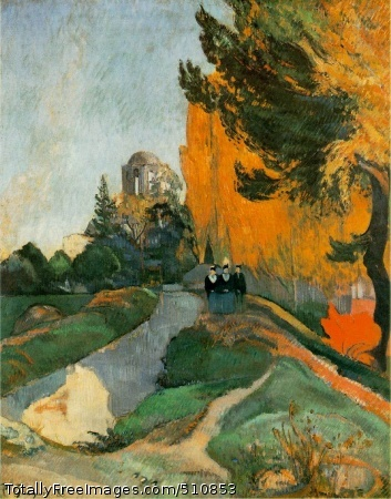 Les Alyscamps, Arles 1888 (170 Kb); Oil on canvas, 91 x 72 cm (35 7/8 x 28 3/8 in); Musee d'Orsay, Paris