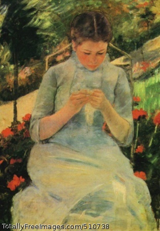 Femme Cousant (Young Woman Sewing in the Garden) c.1880-82 (70 Kb); Oil on canvas, 36 x 25 1/2 in; Musee d'Orsay in Paris