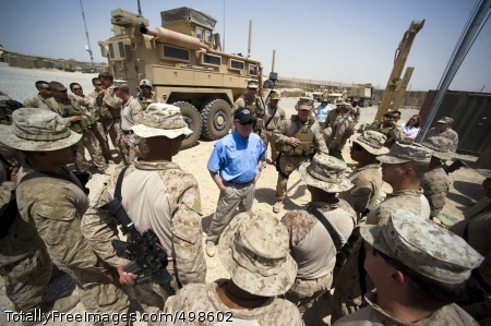 110625-N-UH963-131 HELMAND PROVINCE, Afghanistan (June 25, 2011) Secretary of the Navy (SECNAV) the Honorable Ray Mabus visits with Sailors and Marines at the Boldak Expeditionary Energy Patrol Base in Helmand Province, Afghanistan. (U.S. Navy photo by Mass Communication Specialist 1st Class Kevin S. O'Brien/Released)