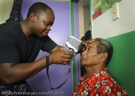 110414-N-YM863-308 VAVA'U, Tonga (April 14, 2011) Hospital Corpsman 2nd Class Fitzroy Hall uses an auto refractor during an eye examination at a medical/civil assistance program at the Prince Ngu Hospital during Pacific Partnership 2011. Pacific Partnership is a five-month humanitarian assistance initiative that will make port visits to Tonga, Vanuatu, Papua New Guinea, Timor-Leste, and the Federated States of Micronesia. (U.S. Navy photo by Mass Communication Specialist 1st Class Eli J. Medellin/Released)