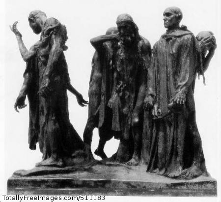 The Burghers of Calais 1884-86 (30 Kb); Bronze, 82 1/2 x 95 x 78 in; Rodin Museum, Philadelphia