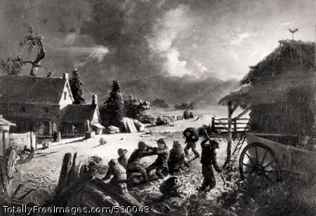 Corn Husking Moonlit farmyard scene with a group of boys husking corn beside a barn and a wagon. Two of the boys fight with one another, while others watch, or continue to husk corn. In the background there is a farmhouse with a woman standing in the doorway. Artist: Blythe, David Gilmour, 1815-1865, painter. Medium: Oil on canvas. Smithsonian Control Number: IAP 36120230