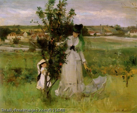 """Cache-cache (Hide-and-Seek) 1873 (150 Kb); Oil on canvas, 45 x 55 cm (17 3/4 x 21 5/8""""); Collection Mrs. John Hay Whitney, New York The models are Berthe Morisot's sister Edma and Edma's daughter Jeanne."""