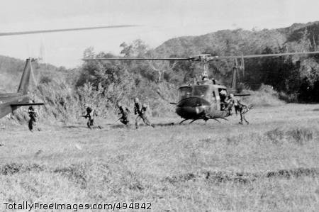 Drop-Off in Ia Drang 1st Cavalry Soldiers disembark a UH-1 Iroquois helicopter in the Ia Drang Valley of Vietnam.' Photo Credit: Feb 22, 2007