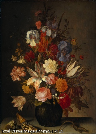 Still Life with Flowers Ast, Balthasar van der c.1632-57; Oil on canvas, 59 x 43 cm; Rijksmuseum, Amsterdam, NetherlandsOn a table stands a dark-green, fluted vase with flowers. Beside this are several exotic shells. These were probably part of the painter's collection since the one closest - a 'conus ranunculus' - occurs frequently in his work. A small salamander and a caterpillar are creeping across the table. Above left, in the shadow, a flying wasp approaches. The painting is signed by Balthasar van der Ast but he probably left a significant proportion of the work to his assistants. The painting's underdrawing is clearly visible. Van der Ast may well have produced this as a guideline for his apprentices to continue 'coloring in'.An ochre-yellow ground was applied over the underdrawing. The yellow shines through the grey upper layer, giving the painting a warm glow. In some places it is the ground that we see, as in the butterfly's wing where the yellow is uncovered. The background was the first to be painted, with spaces left for the flowers. These were then coloured in, but so finely that the underdrawing remains visible. The flowers are modelled more with lines than with paint. Van der Ast has given the closest flowers a light colour, which projects them forward somewhat. The flowers at the edge of the bouquet are painted against the dark background, marginalising them. In this way the artist gives the bouquet depth and volume.Ground is visible in the butterflyUnderdrawing defines the flowerBalthasar van der Ast's brother-in-law was the still-life painter Ambrosius Bosschaert in whose style he first worked. These early flower pieces provide a display of botanically interesting flowers, depicted side-by-side. This still life by Van der Ast is from a later period. It is less precise and shows a more casual style. The individual flowers are less detailed and overlap. However, Van der Ast has copied a few of the flowers from paintings by Bosschaert.Credits: The Rijksmuseum, Amsterdam.
