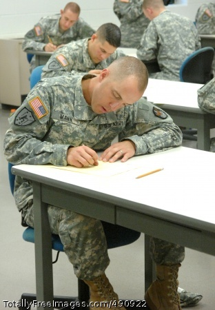 Best Warrior - Sgt. Patrick Mann, representing the Space and Missile Command, concentrates on the written examination on general military topics and a graded essay on an assigned topic, as part of 2007 Best Warrior Competition, Oct. 3, at Fort Lee, Va. Photo Credit: Oct 3, 2007