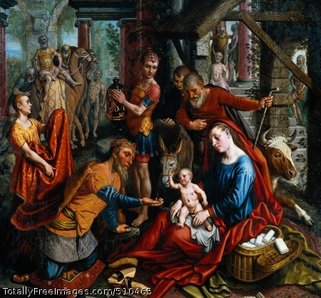 The Adoration of the Magi Aertsen, Pieter Middle panel of a triptych The Adoration of the Magi; c. 1560; Oil (?) on panel, 167.5 x 179 cm; Rijksmuseum, AmsterdamThe baby Jesus is sitting on the lap of his mother, the Virgin Mary. He is holding his hand up in a blessing. Before him kneels a king offering a gift of gold. This is Melchior, the oldest of the three kings who came to pay homage to the infant Christ. Behind Mary, in a red gown is her husband Joseph. According to tradition, Jesus was born in a stable. The donkey, the ox and the shabby straw roof remind us of this. The scene takes place against the background of a ruined palace with marble columns and steps. This refers to King David, a distant ancestor of Jesus. The ruin is symbolic and represents the old world: Jesus represents the new, Christian world.Pieter Aertsen painted this large, colourful panel in around 1560. It is a varied scene with many attractive details such as the rather homely basket of clothes beside Mary and the king's entourage with camels on the left of the background.Only one of the three kings is pictured on this panel. In fact, the painting is no longer complete. It was originally the centre panel of an altarpiece. The other two kings were pictured on the side panels. The right-hand panel has been lost. The left-hand panel, depicting the Moorish King Caspar and his entourage, has been preserved. This king is offering a vase of myrrh, a fragrant resin which was employed in the ancient world in perfume. It was used in preparing myrrh balsam, for embalming corpses. According to tradition, this was what Caspar, the African king, gave to Christ. It is viewed as a reference to Christ's subsequent death.MannerismAertsen has depicted the figures in all sorts of different attitudes, which sometimes appear rather forced. In the background are a number of men - servants from the king's entourage - in various stages of undress. The most remarkable is the naked camel driver in the middle panel. H