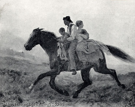 A Ride for Liberty - The Fugitive Slaves A man, woman, child, and baby ride on a horse that charges across the landscape. Artist: Johnson, Eastman, 1824-1906, painter. Medium: Oil on board. Smithsonian Control Number: IAP 35680230