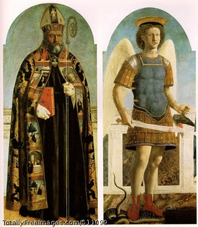 Polyptych of Saint Augustine 1454 (190 Kb); Oil and tempera on panelSaint Augustine; 132 x 56.5 cm; Museo de Arte Antiga, LisbonSaint Michael the Archangel; 133 x 59.5 cm; National Gallery, London