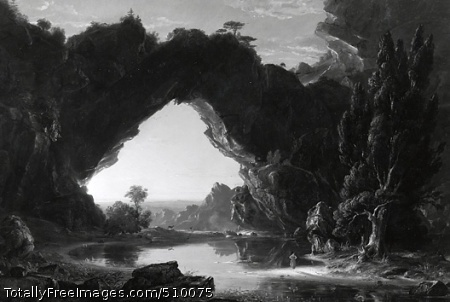 Evening in Arcady View of a natural bridge over a river with two women in Arcadian attire along the shore in the foreground. One woman dances by the water's edge and the other is seated under a tree, a lyre in her hands. The sun is setting, highlighting the underside of the natural bridge, and silhouetting a herd of deer in the background along the far shore of the river. On the left two swans swim near the shore. Artist: Cole, Thomas, 1801-1848, painter. Medium: Oil on canvas. Smithsonian Control Number: IAP 06910249