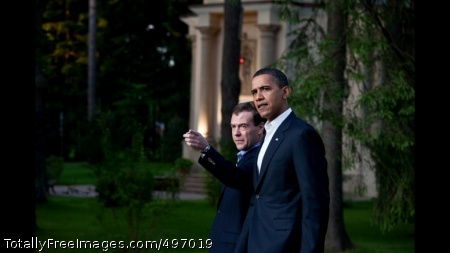 START 6 President Barack Obama and Russian President Dmitry Medvedev walk together, after dining with their wives at President Medvedev\'s dacha outside Moscow, Russia, July 6, 2009. (Official White House Photo by Pete Souza)