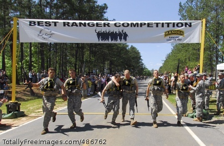 Best Ranger -- Finish Line at last for the top three teams in the 2008 David E. Grange Jr. Best Ranger Competition April 18-20 at Fort Benning, Ga. From left to right: Team five made up of Staff Sgts. Michael Broussard and Shayne Cherry representing the 75th Ranger Regiment, who took first place; brothers Capt. Jeff Soule and Maj. Greg Soule took the second spot representing James Madison University ROTC; and, team nine made up of Sgt. Jeremy Billings and Sgt. Jeremiah Beck took third representing the 75th Ranger Regt. Photo Credit: Apr 20, 2008