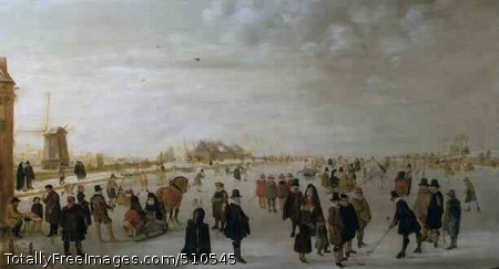 Winter landscape on the River Ijsel near Kampen c. 1615; Oil on panelOn the frozen River Ijsel figures are skating, playing golf, riding horse-drawn sleighs and conducting business. In the foreground on the left a man is selling smoking supplies. On the left bank in the background there is a windmill and on the right bank are gallows.