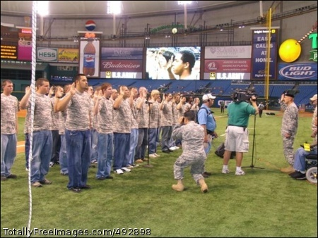 Future Soldier Army Major General Steven Hashem of the U.S. Special Operations Command, located at MacDill Air Force Base in Tampa, conducts a Future Soldier Swear In prior to the 1st pitch at the Tampa Bay Devil Ray's Army Birthday night.     Photo Credit: Jun 14, 2007