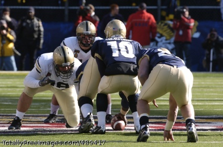 Army/Navy 4 Army middle linebacker Brian Chmura from Colorado Springs, Co. and tackle John Wright from Hoover, Ala.  get ready to take on the Navy defense during the 108th annual Army Navy football game in Baltimore, Md. Dec 1, 2007.   Photo Credit: Dec 1, 2007