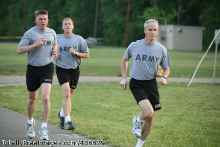 Title (From lead), Lt. Gen. Kevin T. Campbell, Maj. Brian Adams and Lt. Col. Joseph Gaines complete the first half of the two-mile run. Photo Credit: Apr 25, 2008