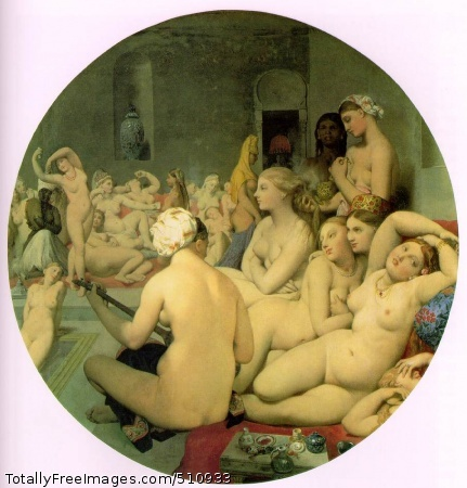 "The Turkish Bath 1862 (100 Kb); Oil on canvas on wood, Diameter 108 cm (42 1/2""); Musee du Louvre, Paris"