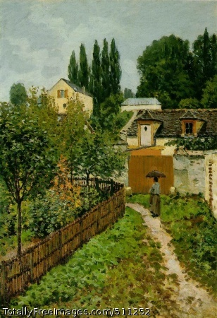 Garden Path in Louveciennes (Chemin de l'Etarche) 1873 (210 Kb); Oil on canvas, 64 x 46 cm; Private collection