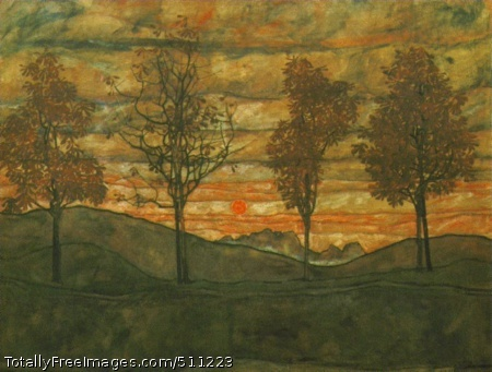 Four trees 1917, oil on canvas, Osterriche Galerie, Vienna (90 Kb)