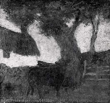 The Red Cow A red cow stands near a tree and fence. Artist: Ryder, Albert Pinkham, 1847-1917, painter. Medium: Oil on wood panel. Smithsonian Control Number: IAP 08350054