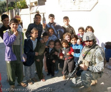 Stryker Soldier While distributing candy to Iraqi children, Sgt. 1st Class Johnny Kempen discovered 7-year-old Zahraa couldn't see properly. Kempen learned she'd had the problem since birth and previous medical treatment had little success. Photo Credit: Sep 7, 2007
