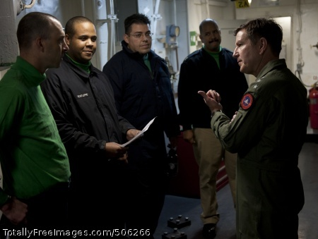 101214-N-7981E-394 PACIFIC OCEAN (Dec. 14, 2010) Vice Adm. Allen G. Myers, right, commander of Naval Air Force, U.S. Pacific Fleet, speaks to Sailors in an arresting gear machinery room during a visit to the aircraft carrier USS Carl Vinson (CVN 70). Carl Vinson and Carrier Air Wing (CVW) 17 are on a three-week composite training unit exercise followed by a western Pacific deployment. (U.S. Navy photo by Mass Communication Specialist 2nd Class James R. Evans/Released)