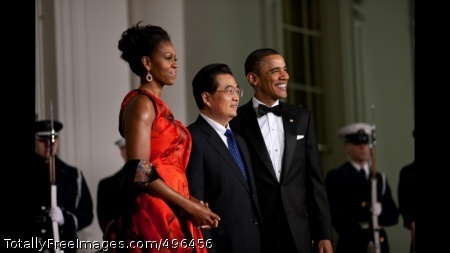 President Obama And The First Lady Welcome President Hu Jintao of China President Barack Obama and First Lady Michelle Obama welcome President Hu Jintao of China at the North Portico of the White House for the State Dinner, Jan. 19, 2011. (Official White House Photo by Lawrence Jackson)