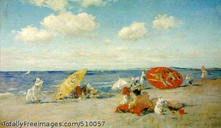At the Seaside Groups of figures, some with umbrellas, relax on a beach. Artist: Chase, William Merritt, 1849-1916, painter. Medium: Oil on canvas. Smithsonian Control Number: IAP 36120899