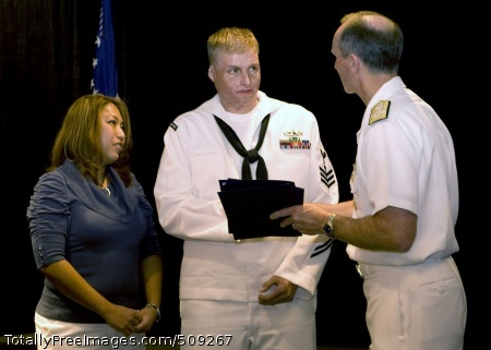 100930-N-3333H-006  WASHINGTON (Sept. 30, 2010) Machinist Mate 1st Class Michael Lamney and his wife Mrs. Rose Lamney are congratulated by Admiral Jonathan W. Greenert, Vice Chief of Naval Operations at the second annual Navy Safe Harbor Awards Ceremony.  In December 2006 Lamney was severely injured due to steam leak aboard the USS Frank Cable. Safe Harbor has been instrumental in helping the Lamney's navigate the medical process. Safe Harbor is the Navy's lead organization for coordinating non-medical care of seriously wounded, ill, and injured Sailors, Coast Guardsmen, and their families. (U.S Navy photo by Mass Communications Specialist Second Class Jonathan W. Hutto, Sr./Released)