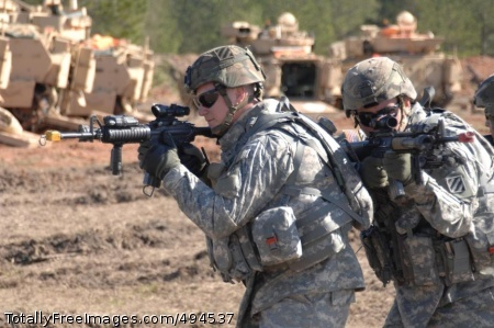 Pushing the Soldiers rehearse tactics. Photo Credit: Mar 13, 2007