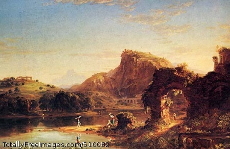 L'Allegro Ideal and imaginary landscape on a bright day with figures dancing at center on the shore of a river. Ruins are on a hill at left, a hilltop is right of center, and two arches with a figure standing beneath one is in the foreground at right. Animals are on the both shores and a man in a rowboat can vaguely be seen at center in the background. Artist: Cole, Thomas, 1801-1848, painter. Medium: Oil on canvas. Smithsonian Control Number: IAP 02960179
