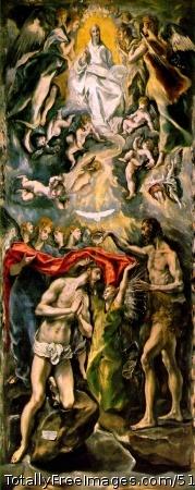 Baptism of Christ 1597-1600 (220 Kb); Oil on canvas, 350 x 144 cm; Museo del Prado, Madrid