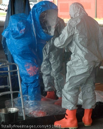 Maryland Guard Members of the 32nd Civil Support Team of the Maryland National Guard suit up to perform simulated hazardous material recovery operations during Exercise Vigilant Guard in downtown Baltimore. Photo Credit: Sep 19, 2007