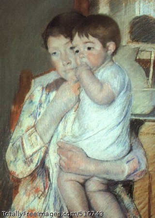 Mother and Child against a Green Background (Maternity) 1897 (40 Kb); pastel on beige paper mounted on canvas; Musee d'Orsay, Paris