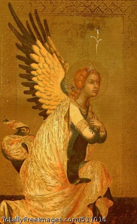 The Angel of the Annunciation after 1339 (40 Kb); Panel painting; Musee Royal des Beaux-Arts, Antwerp