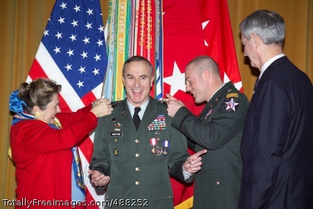 Lt. Gen. Huntoon Lt. Gen. David Huntoon, then-Army War College commandant, has his third stars pinned on by his wife Margaret, and his son, Capt. David Huntoon III, in the college's Bliss Hall Jan. 25. Retired Lt. Gen. Robert Foley officiated the ceremony.  Photo Credit: Feb 6, 2008