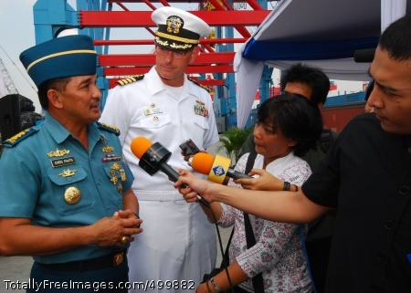 110601-N-KK935-112   JAKARTA, Indonesia (June 1, 2011) Indonesian Navy Col. Chris Paath, co-commander for CARAT Indonesia 2011, answers questions for the media while Capt. Dave Welch, commander of Task Group 73.1, listens. The media is present for the closing ceremony for Cooperation Afloat Readiness and Training (CARAT) Indonesia 2011. CARAT is a series of bilateral exercises held annually in Southeast Asia to strengthen relationships and enhance force readiness. (U.S. Navy photo by Mass Communication Specialist 2nd Class Jessica Bidwell/Released)