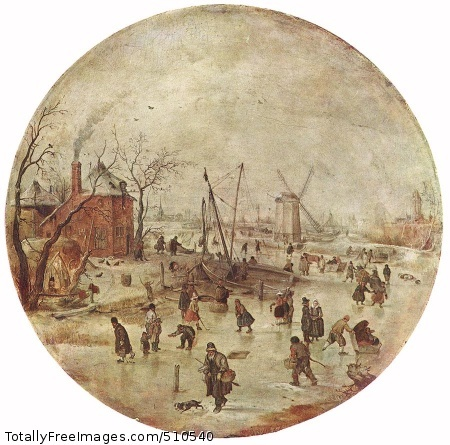 Winter Landscape with Skaters Oil on wood, diameter: 30,5 cm; Museum of Fine Arts, Budapest