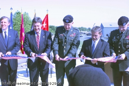 Letterkenny Standing left to right on the rail dock are John Blake, executive deputy secretary of the Pennsylvania Department of Community and Economic Development, Congressman Bill Shuster, (9th District-PA), Gen. Benjamin Griffin, U.S. Army Materiel Command commanding general, Senator Terry Punt, (33rd District-PA) and Col. Robert Swenson, Letterkenny Army Depot commander  Photo Credit: Jun 18, 2007