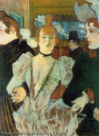 La Goulue Arriving at the Moulin Rouge with Two Women 1892; Oil on cardboard, 79.4 x 59 cm; The Museum of Modern Art, New York