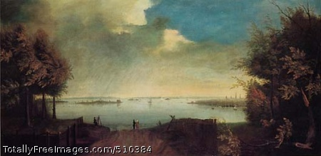 New York Bay and City Artist: Unknown, painter. Medium: Oil on canvas. Smithsonian Control Number: IAP 36070073