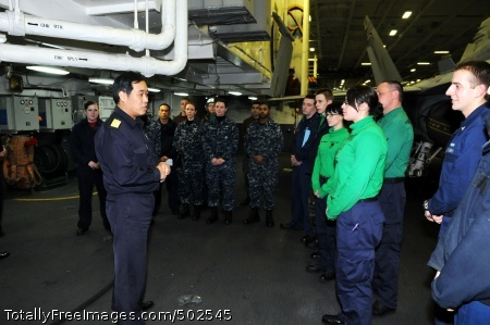 110325-N-IC111-060 PACIFIC OCEAN (March 25, 2011) Rear Adm. Hiruyuki Kasui, commander of the Japan Maritime Self-Defense Force Escort Flotilla 1, thanks Sailors assigned to the aircraft carrier USS Ronald Reagan (CVN 76) on behalf of the Japanese people for humanitarian relief efforts. Ronald Reagan is operating off the coast of Japan to provide disaster relief and humanitarian assistance in support of Operation Tomodachi. (U.S. Navy photo by Mass Communication Specialist 3rd Class Kevin B. Gray/Released)