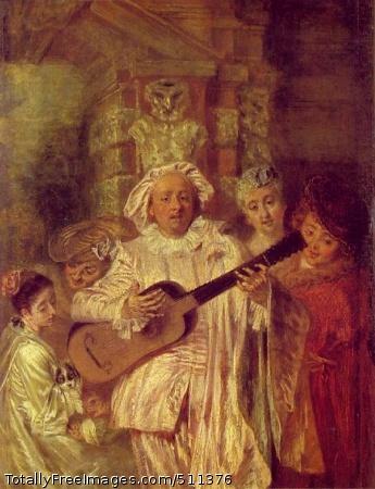Sous un habit de Mezzetin (In Mezzetin's Costume) Jean-Antoine Watteau Oil on canvas, 28 x 21 cm; The Wallace Collection, London