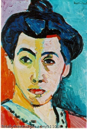 Green Stripe (Madame Matisse) Matisse, Henri 1905 (165 Kb); Oil and tempera on canvas, 40.5 x 32.5 cm (15 7/8 x 12 7/8 in); Royal Museum of Fine Arts, CopenhagenIn his green stripe portrait of his wife, he has used color alone to describe the image. Her oval face is bisected with a slash of green and her coiffure, purpled and top-knotted, juts against a frame of three jostling colors. Her right side repeats the vividness of the intrusive green; on her left, the mauve and orange echo the colors of her dress. This is Matisse's version of the dress, his creative essay in harmony.Matisse painted this unusual portrait of his wife in 1905. The green stripe down the center of Amélie Matisse's face acts as an artificial shadow line and divides the face in the conventional portraiture style, with a light and a dark side, Matisse divides the face chromatically, with a cool and warm side. The natural light is translated directly into colors and the highly visible brush strokes add to the sense of artistic drama.
