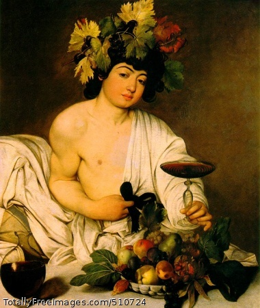Bacchus c. 1597; Oil on canvas, 37 3/8 x 33 1/2 in; Uffizi, Florence