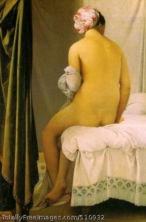 The Valpincon Bather 1808 (140 Kb); Oil on canvas, 146 x 97.5 cm (57 1/2 x 41 1/8 in); Louvre, Paris