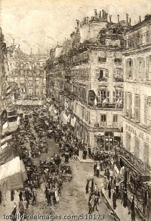 July Fourteenth, Rue Daunou A busy Paris street scene looking down from the artist's balcony in the Hotel l'Empire at the Bastille Day celebrations along the rue Daunou. The street is filled with carriages and figures milling about beneath rows of flags hanging from the buildings that line the street. Artist: Hassam, Childe, 1859-1935, painter. Medium: Oil on canvas. Smithsonian Control Number: IAP 36120232