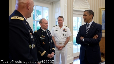 President Obama Talks With Gen. Odierno, Gen. Dempsey, And Admiral Winnefeld President Barack Obama talks with, from left, Gen. Ray Odierno, U.S. Army Chief of Staff Gen. Martin Dempsey, and Admiral James \